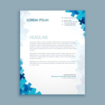Medical letterhead with blue shapes