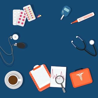 青い背景の医療要素