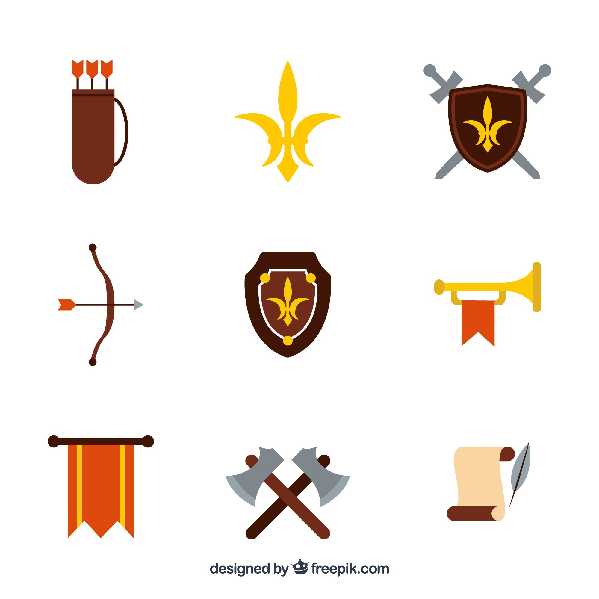 Medieval objects with flat design