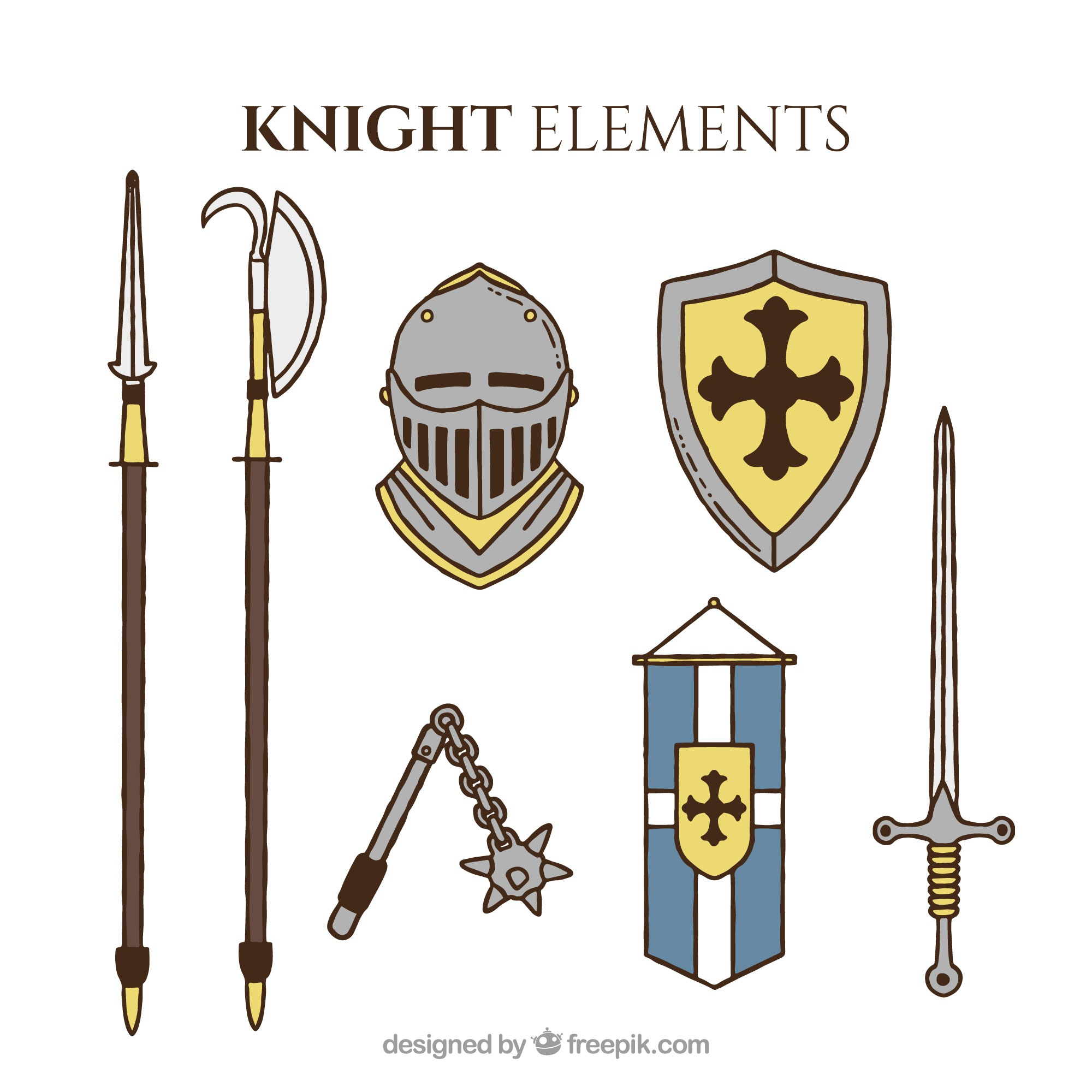 Medieval objects with hand drawn style