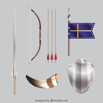 現実的な要素の中世のセット