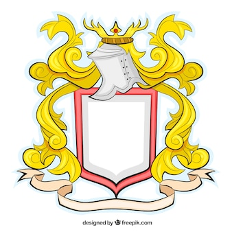Medieval shield in ornamental style