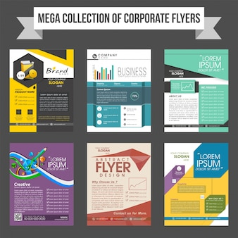 Mega collection of corporate flyers or templates design for business reports and presentation