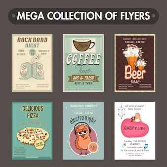 Mega collection of six different flyers or templates design