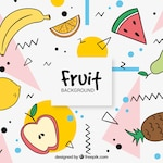 Memphis background of various hand drawn fruits