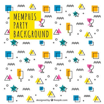 Memphis background with party elements and geometric shapes