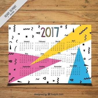 Memphis calendar 2017 in memphis style