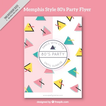 Memphis eighties party brochure with triangles