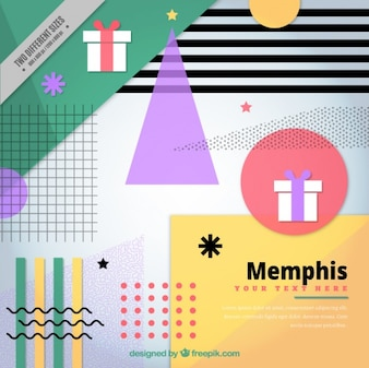 Memphis modern christmas background