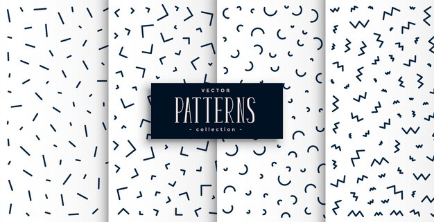Memphis pattern set in black and white color