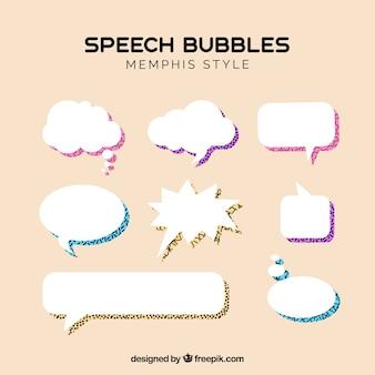 Memphis style speech bubbles collection