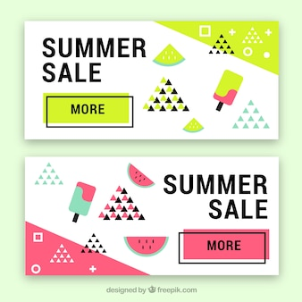Memphis summer sale banners with ice-creams