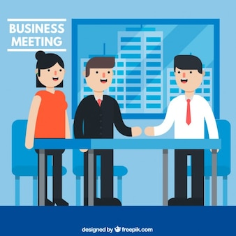 Men and woman in a business meeting