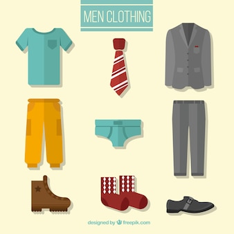 Men clothing in flat design stlye