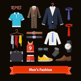 Men fashion colourful flat icon set