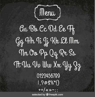 Menu alphabet on blackboard