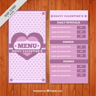 Menu of valentine's hearts