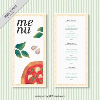 Menu restaurant with pizza