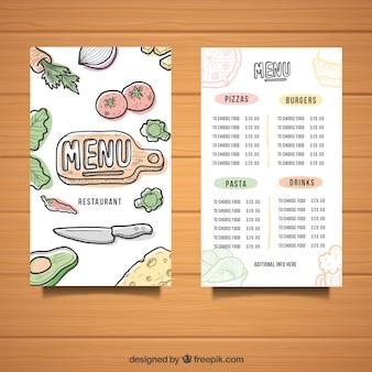 Menu template with hand drawn ingredients