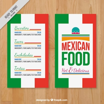 Menu template with mexican colors