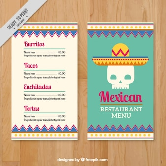 Menu template with mexican skull