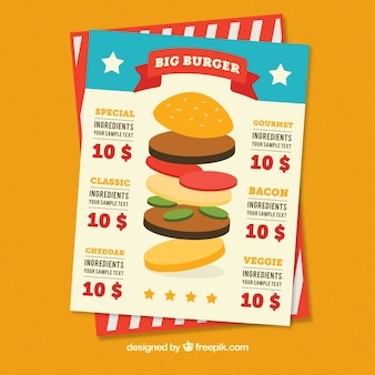 Menu template with variety of burgers