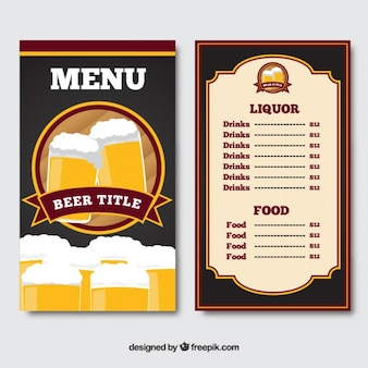 Menu with beers on the cover