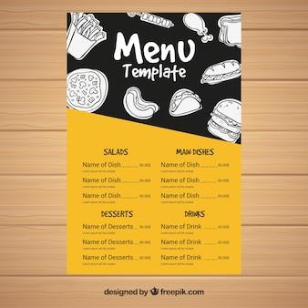 Menu with food drawings