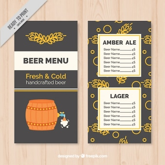 Menu with handcrafted beer