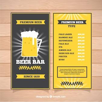Menu with premium beer