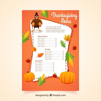 Menu with thanksgiving elements