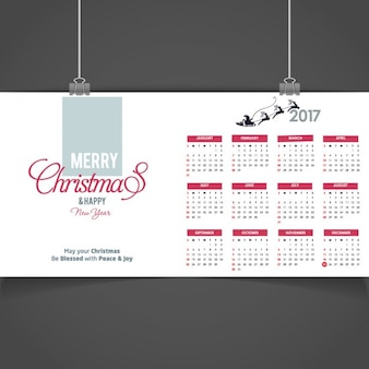 Merry christmas and happy new year 2017 calendar