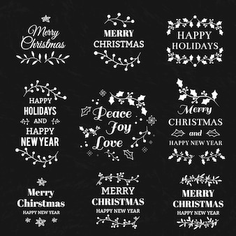 Merry Christmas And Happy New Year Calligraphic And Typographic Background With Chalk Word Art On Blackboard