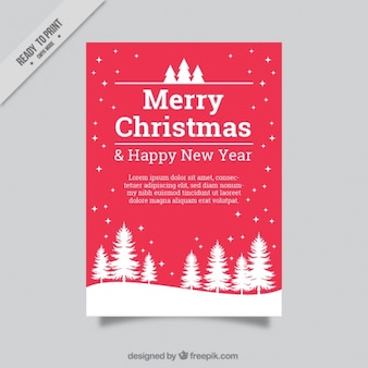 Merry christmas and new year greeting card with pine and snow