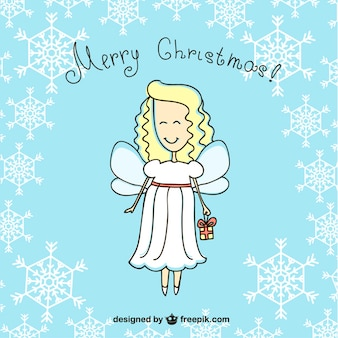 Merry Christmas angel cartoon