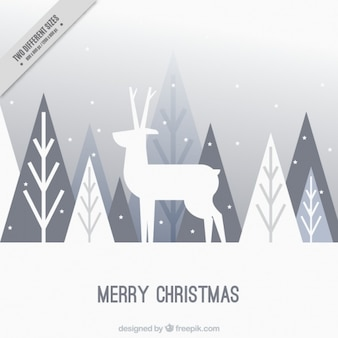 Merry christmas background of deer and trees in flat design