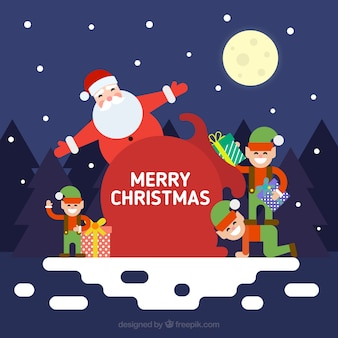 Merry christmas background of santa claus with elfs