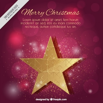 Merry christmas background with a golden star and and bokeh effect