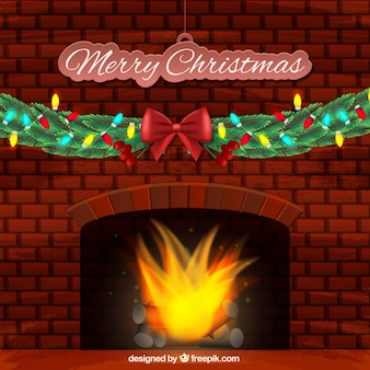 Merry christmas background with burning fireplace