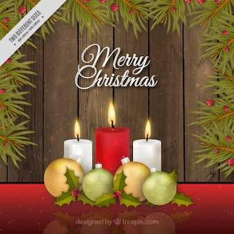 Merry christmas background with candles in realistic style