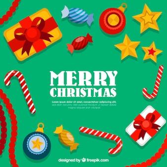 キャンディーキャンデーと贈り物とメリークリスマスの背景