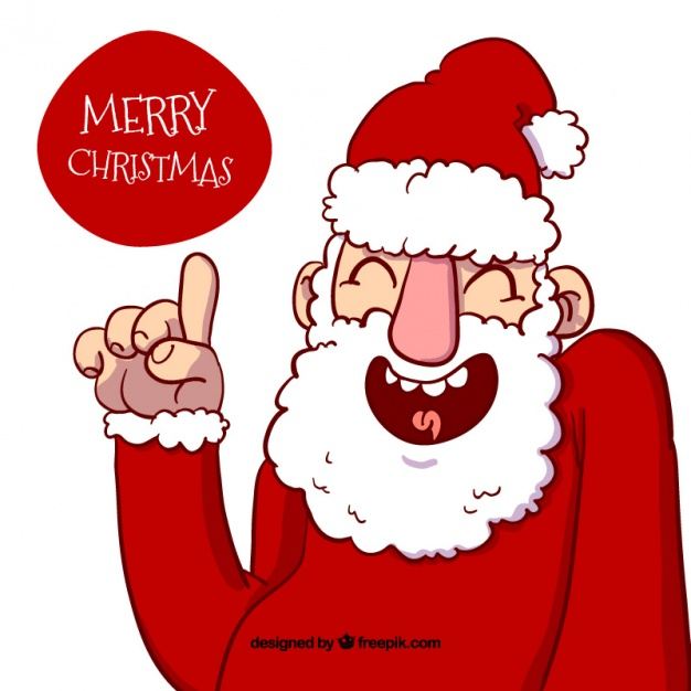 Merry christmas background with caricatured hand drawn santa claus