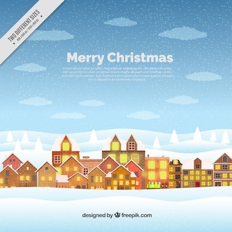 Merry christmas background with city in flat design