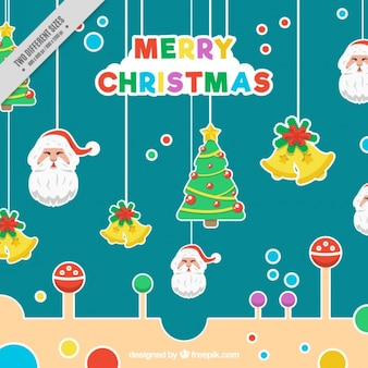 Merry christmas background with colorful stickers hanging