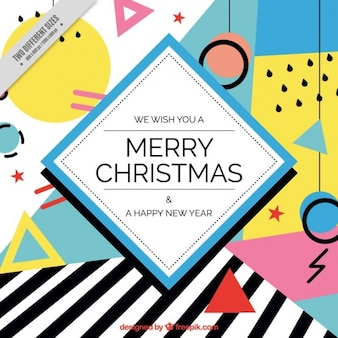 Merry christmas background with geometrical shapes