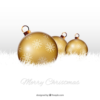 Merry christmas background with golden baubles