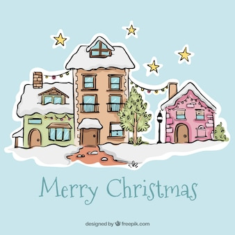 Merry christmas background with hand drawn pretty façades houses