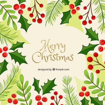 Merry christmas background with hand drawn wreath