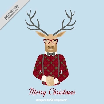 Merry christmas background with hipster reindeer