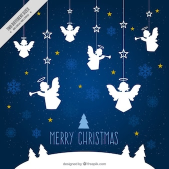 Merry christmas background with ornaments of angels